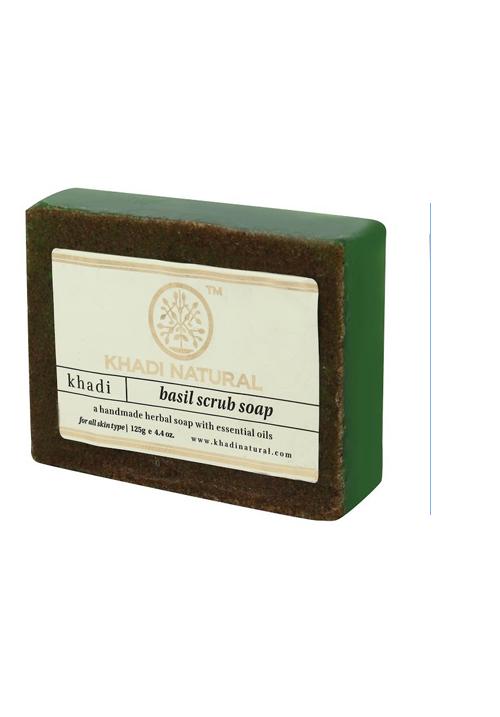 Khadi Natural Basil Scrub Soap